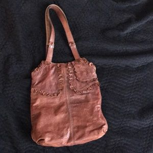 Lucky brown leather shoulder bag